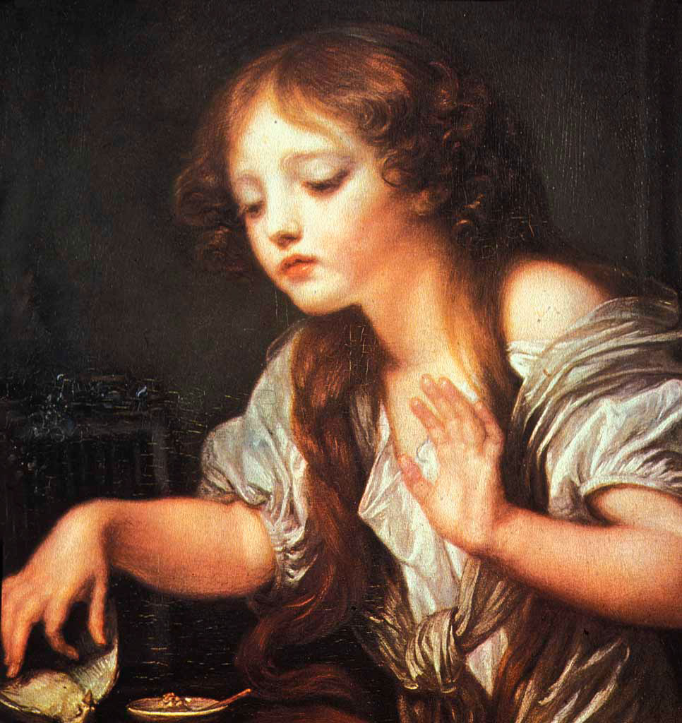 Helnwein Child: Jean Baptiste Greuze, Young Girl Weeping for her Dead Bird, 1759