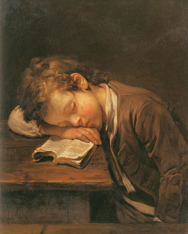 Helnwein Child: Jean Baptiste Greuze, Die Kleine Schlafende Strickerin, 1758