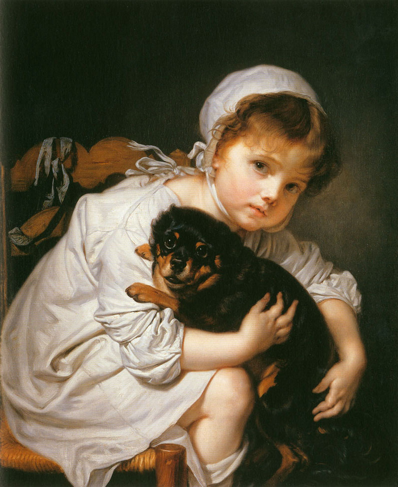 Helnwein Child: Jean Baptiste Greuze, Madame Greuze auf der Chaislongue mit Hund, 1765