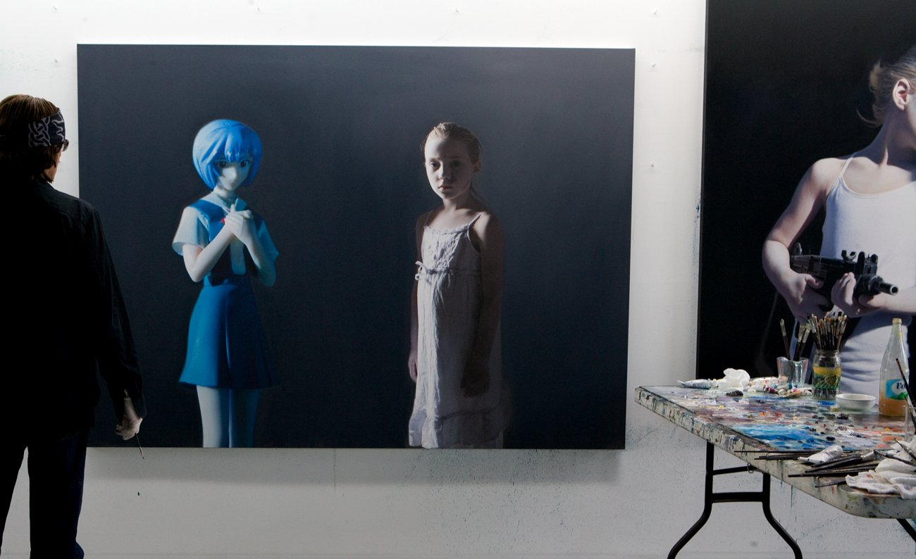 Helnwein working on the series The Murmur of the Innocents (The Disasters of War,